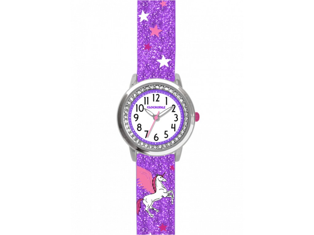 6762 fialove trpytive divci detske hodinky s jednorozcem a kaminky clockodile unicorn