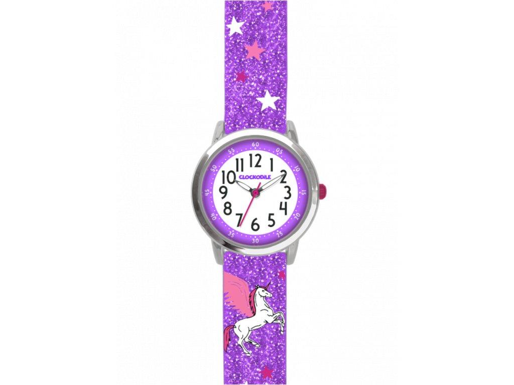 6795 fialove trpytive divci detske hodinky s jednorozcem clockodile unicorn