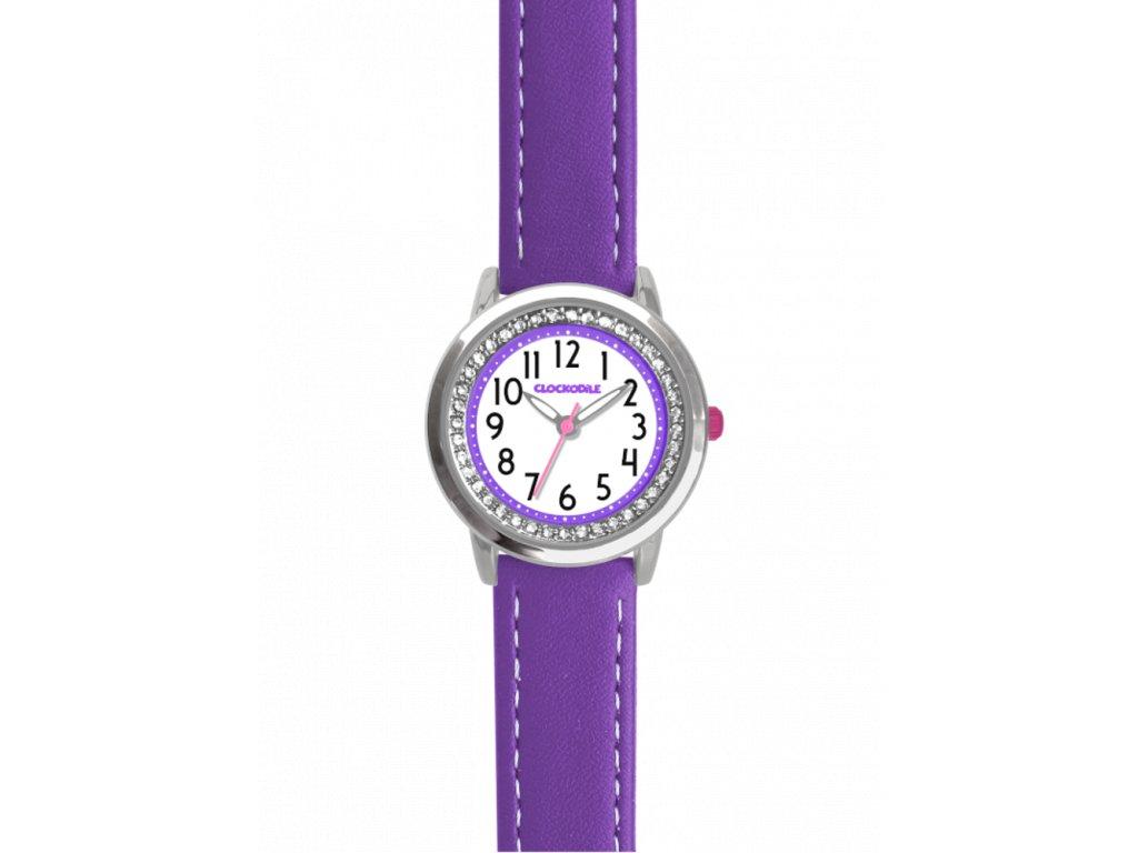10137 fialove trpytive divci detske hodinky se kaminky clockodile sparkle