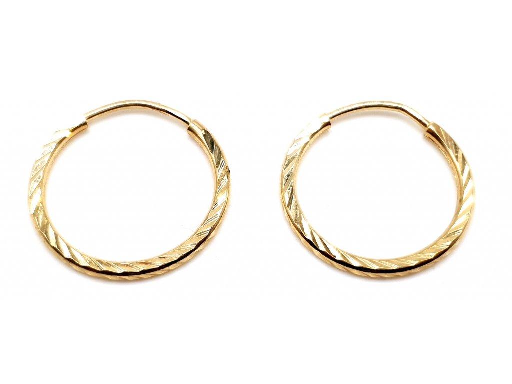 98412 kruhove nausnice ze zluteho zlata s drazkovanym povrchem 1 5cm