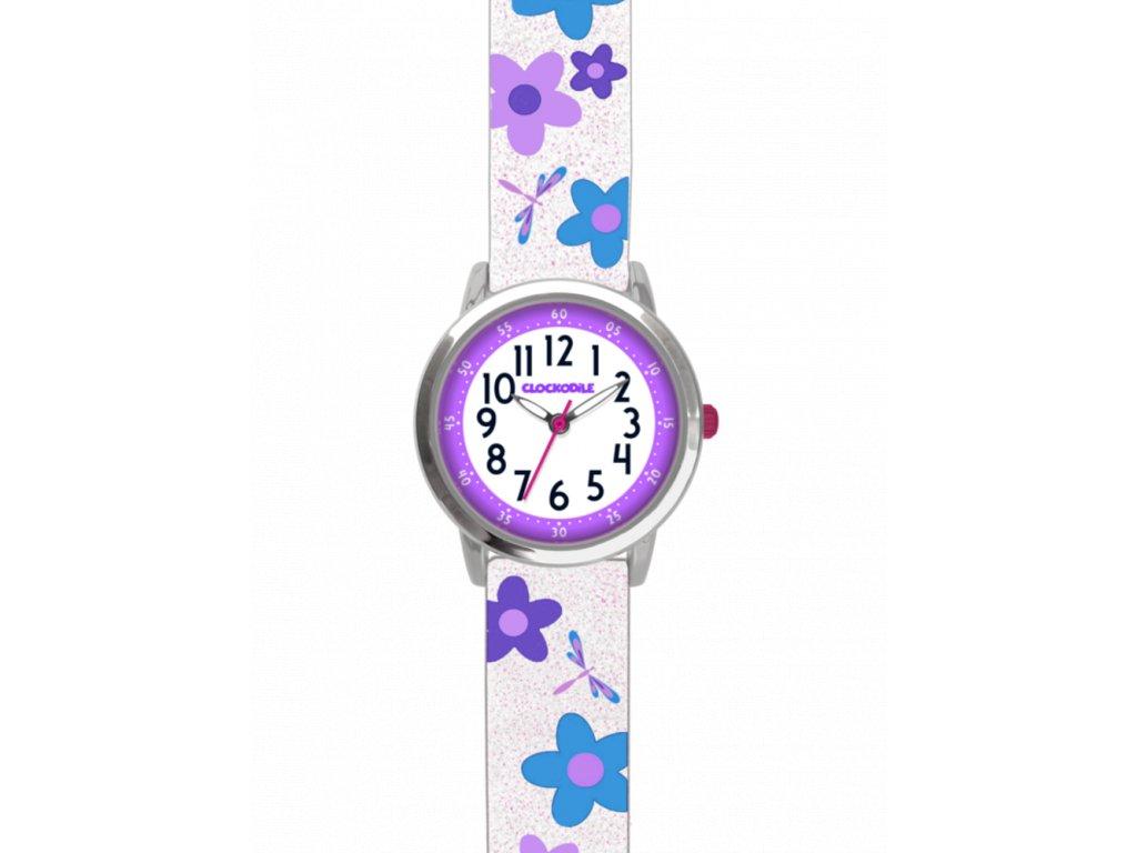10107 kvetovane bilo fialove divci detske hodinky clockodile flowers se trpytkami