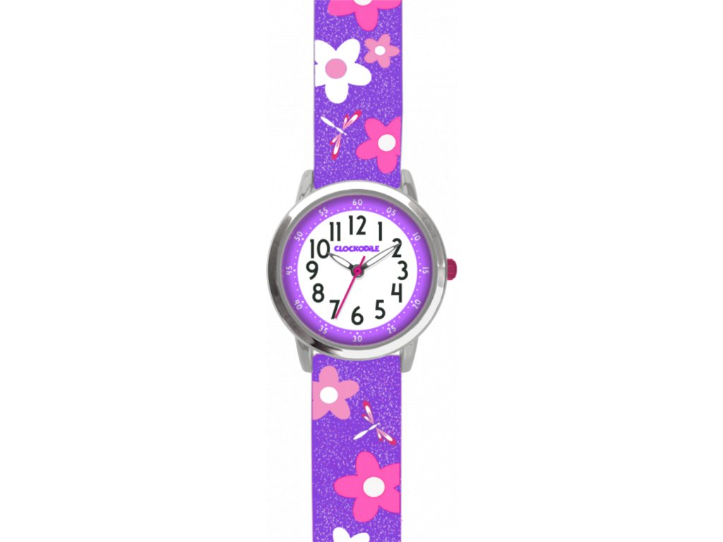 10074 kvetovane fialove divci detske hodinky clockodile flowers se trpytkami