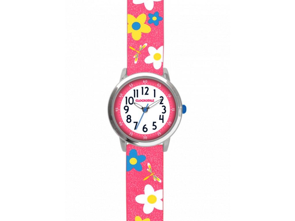 10104 kvetovane ruzove divci detske hodinky clockodile flowers se trpytkami