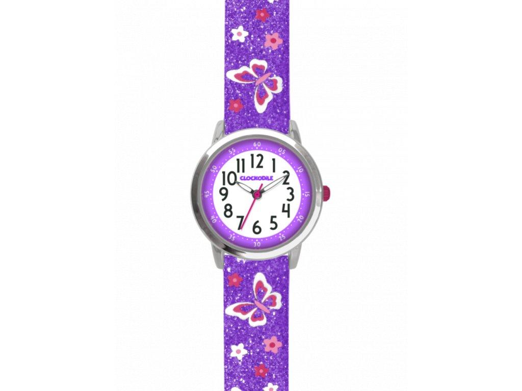 10920 motyli fialove divci detske hodinky clockodile butterflies se trpytkami