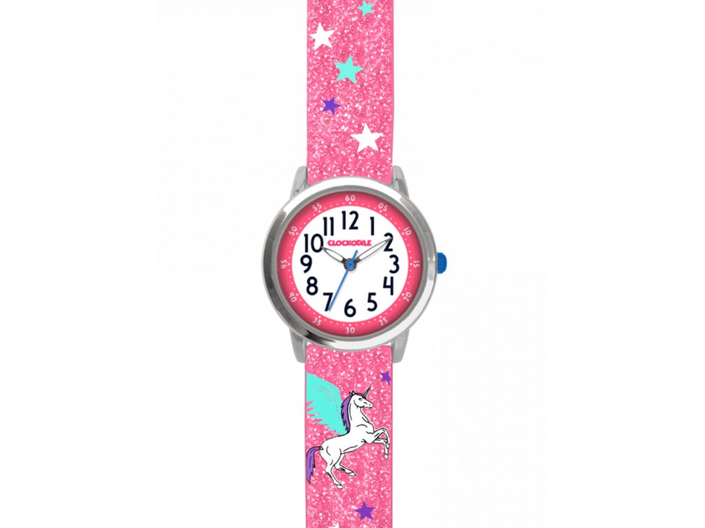 9636 ruzove trpytive detske divci hodinky s jednorozcem clockodile unicorn