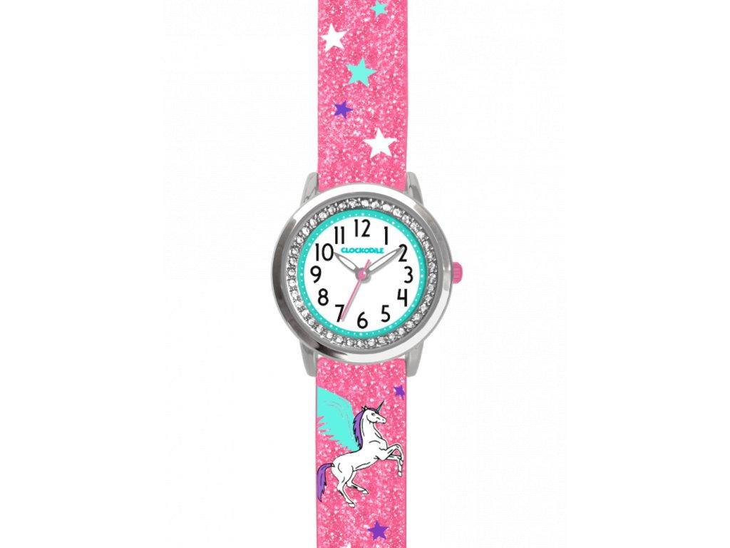 10140 ruzove trpytive divci detske hodinky s jednorozcem a kaminky clockodile unicorn