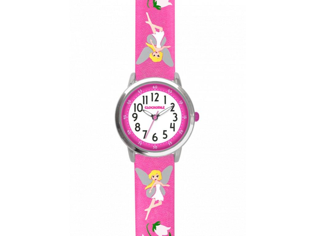 4611 ruzove trpytive divci detske hodinky s vilami clockodile fairies