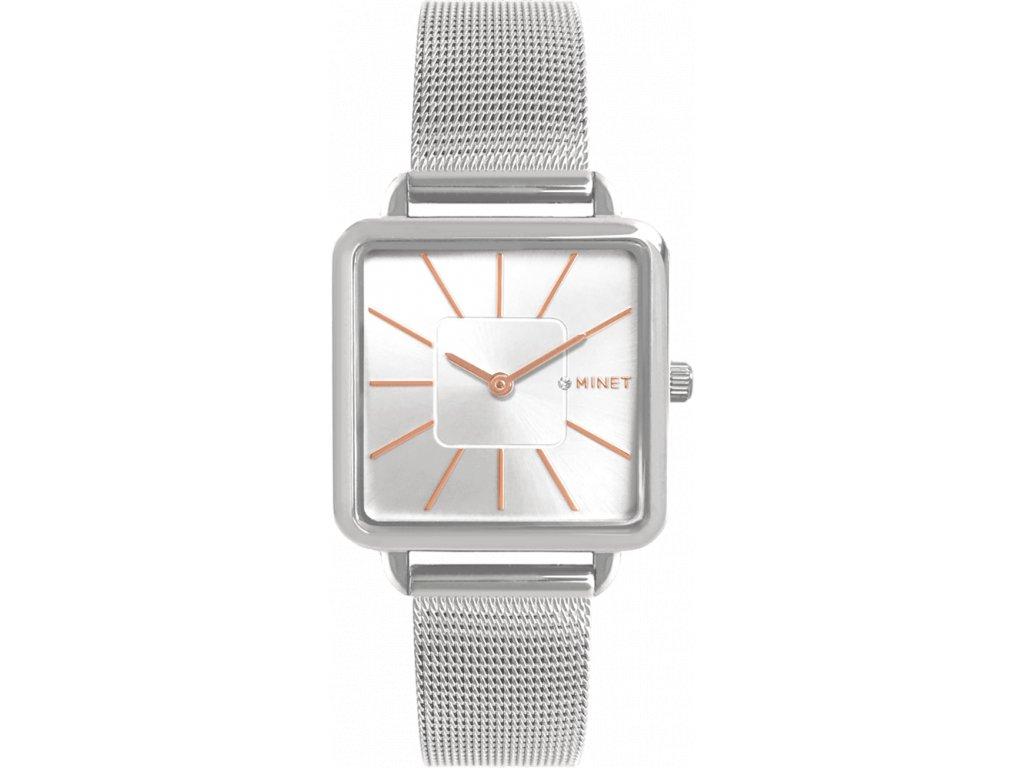 4281 stribrne damske hodinky minet oxford silver rose mesh