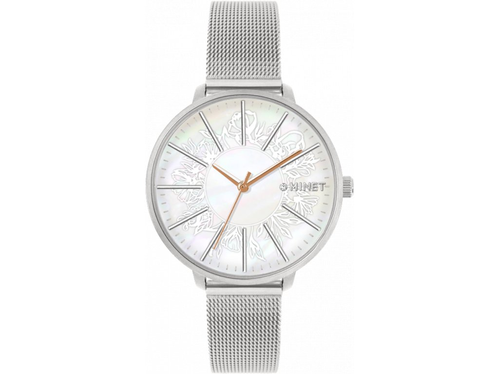 4050 stribrne damske hodinky minet prague silver flower mesh