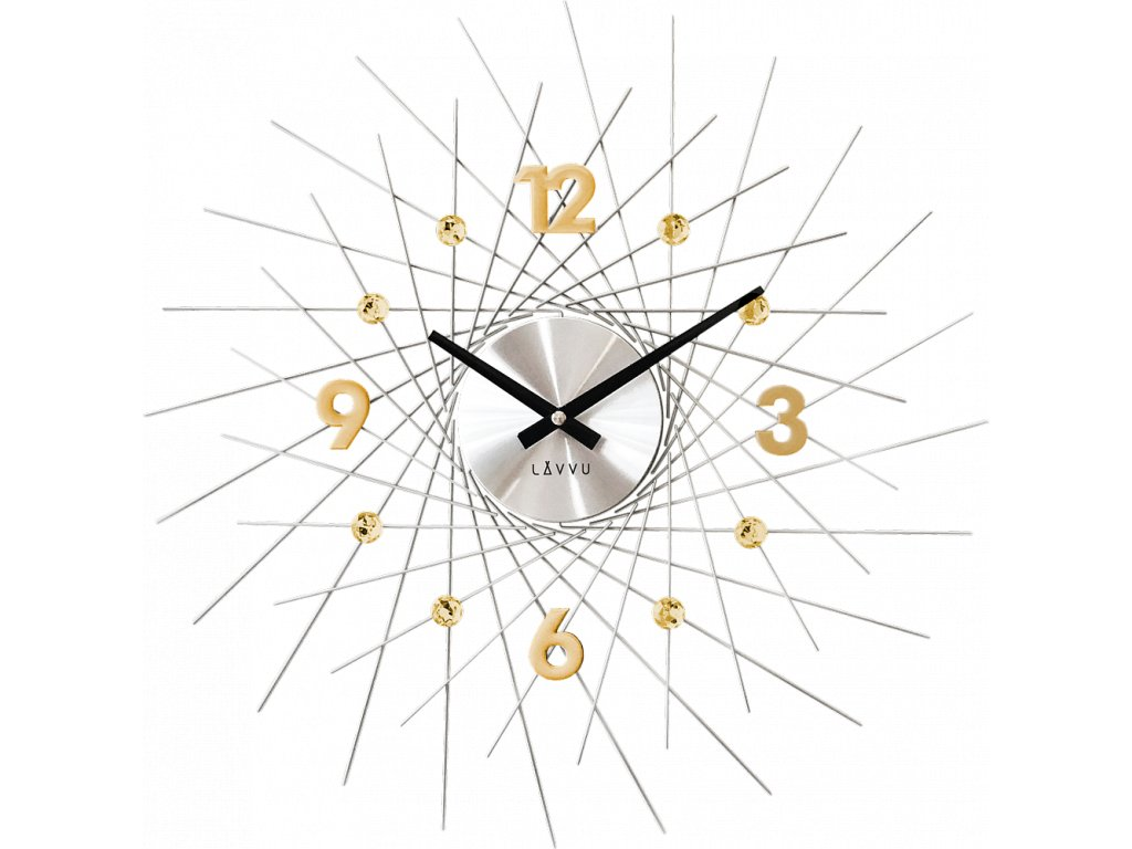 6873 stribrne hodiny se zlatymi detaily lavvu crystal lines