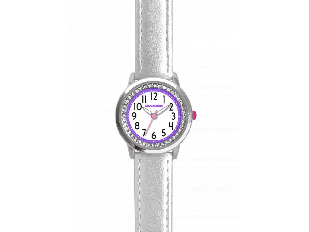 6753 stribrne trpytive divci detske hodinky se kaminky clockodile sparkle