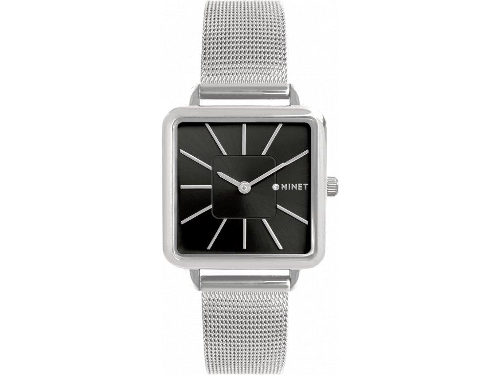 10203 stribrno cerne damske hodinky minet oxford silver black mesh