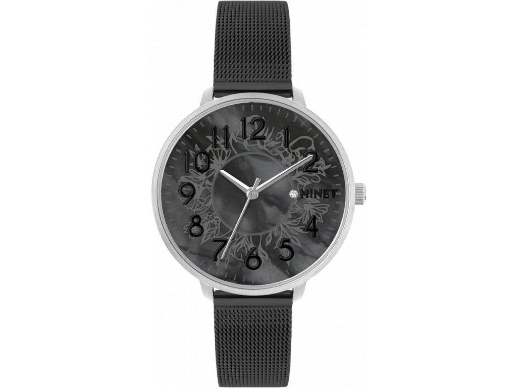 1725 stribrno cerne damske hodinky minet prague black flower mesh s cisly