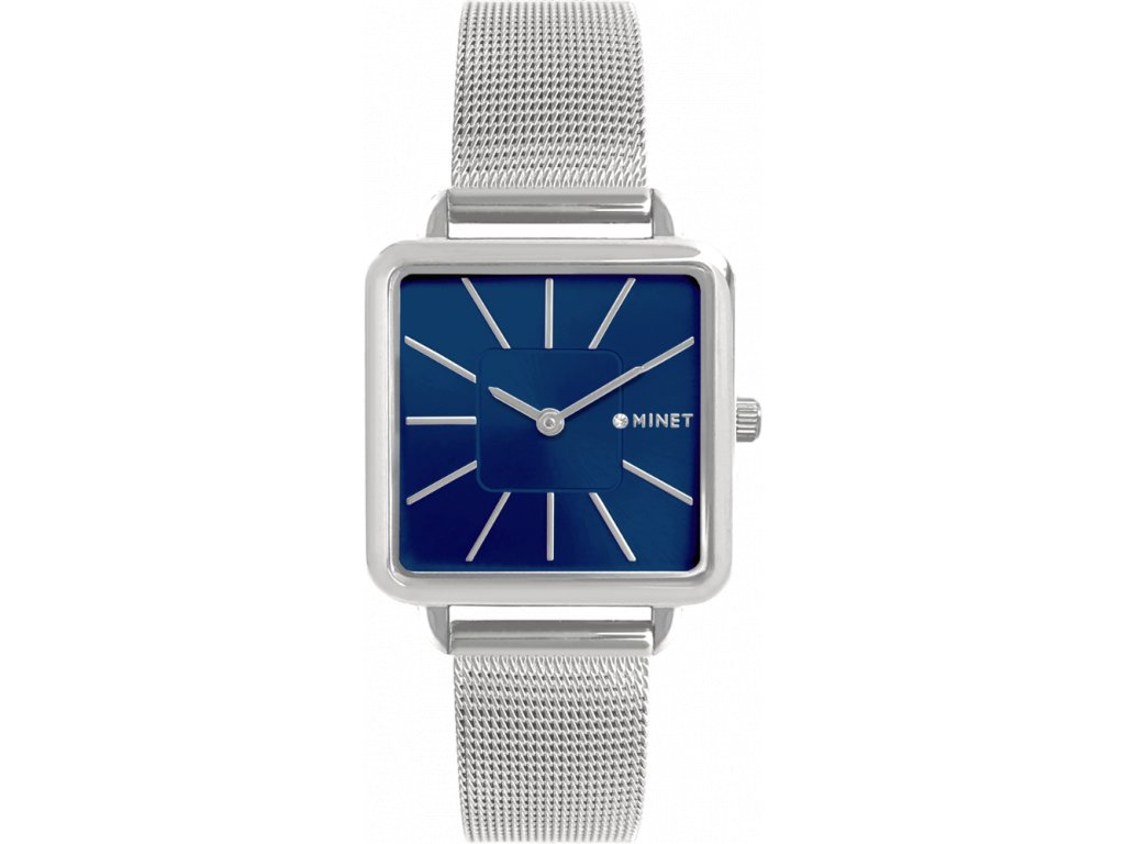 10212 stribrno modre damske hodinky minet oxford silver blue mesh