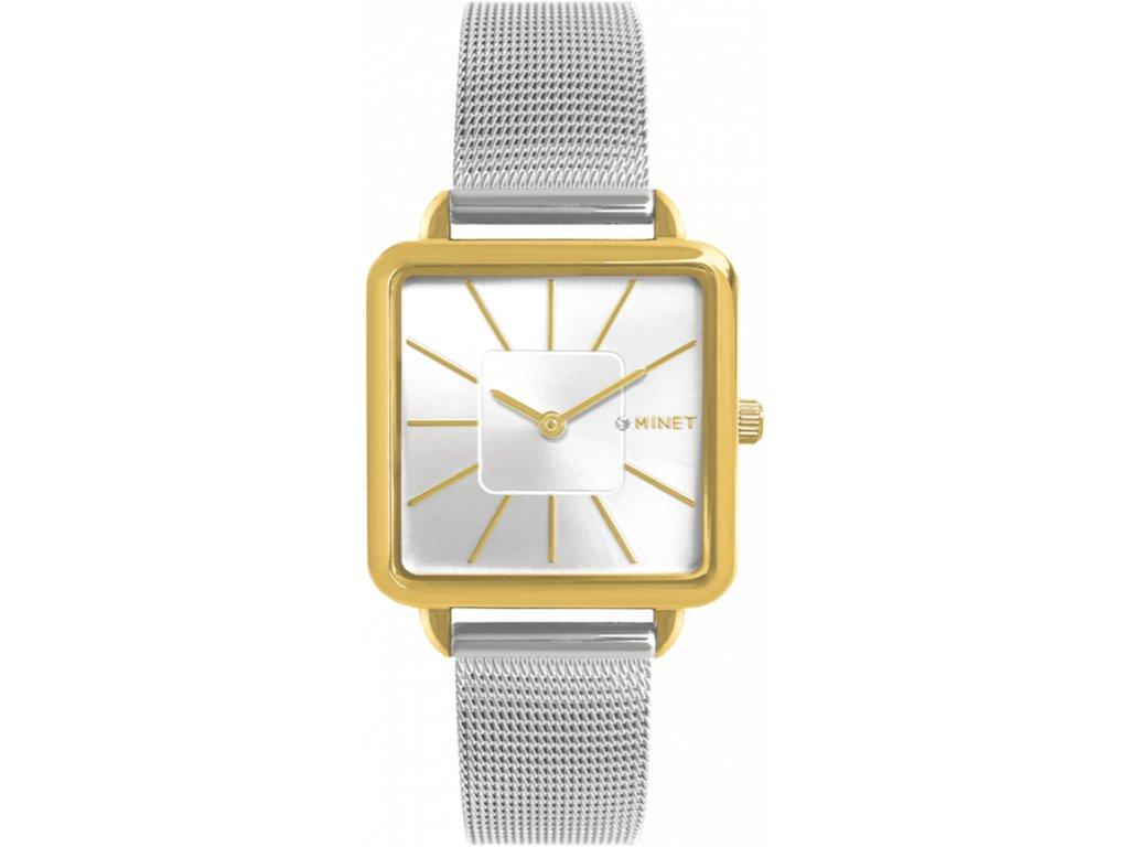 10197 stribrno zlate damske hodinky minet oxford silver gold bicolor mesh