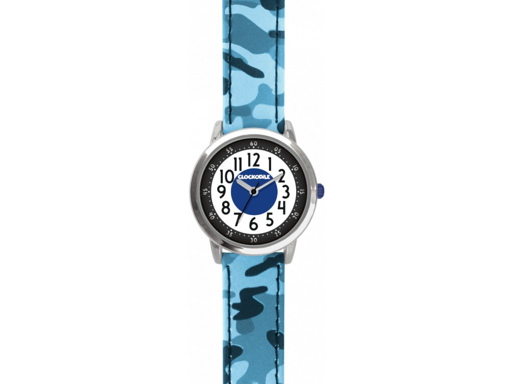 10407 svitici modre chlapecke detske hodinky clockodile army s maskacovym vzorem