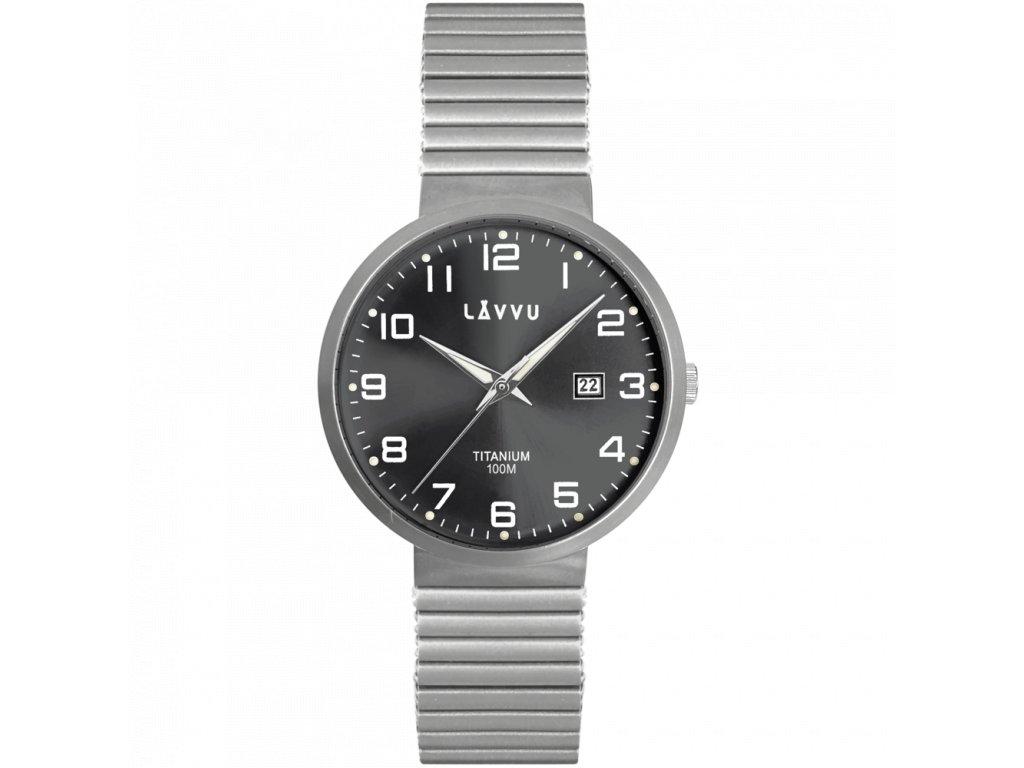 9696 titanove pruzne hodinky s vodotesnosti 100m lavvu lunden black