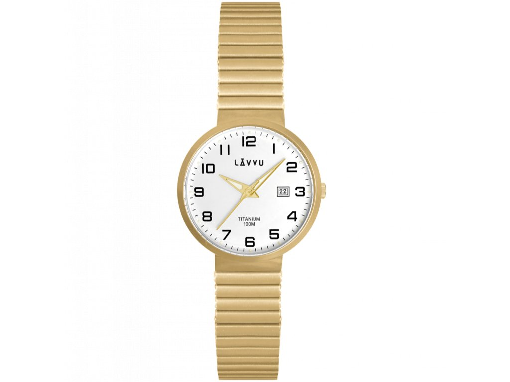 9843 titanove pruzne hodinky s vodotesnosti 100m lavvu lunden small gold
