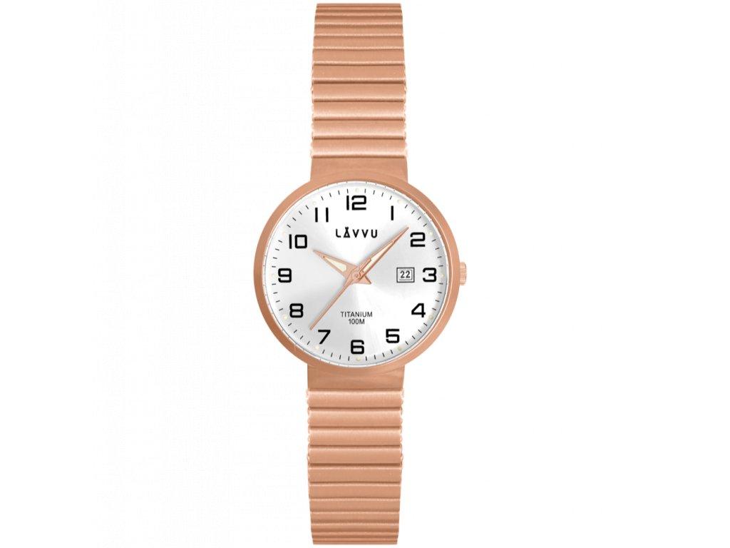 9915 titanove pruzne hodinky s vodotesnosti 100m lavvu lunden small rose gold