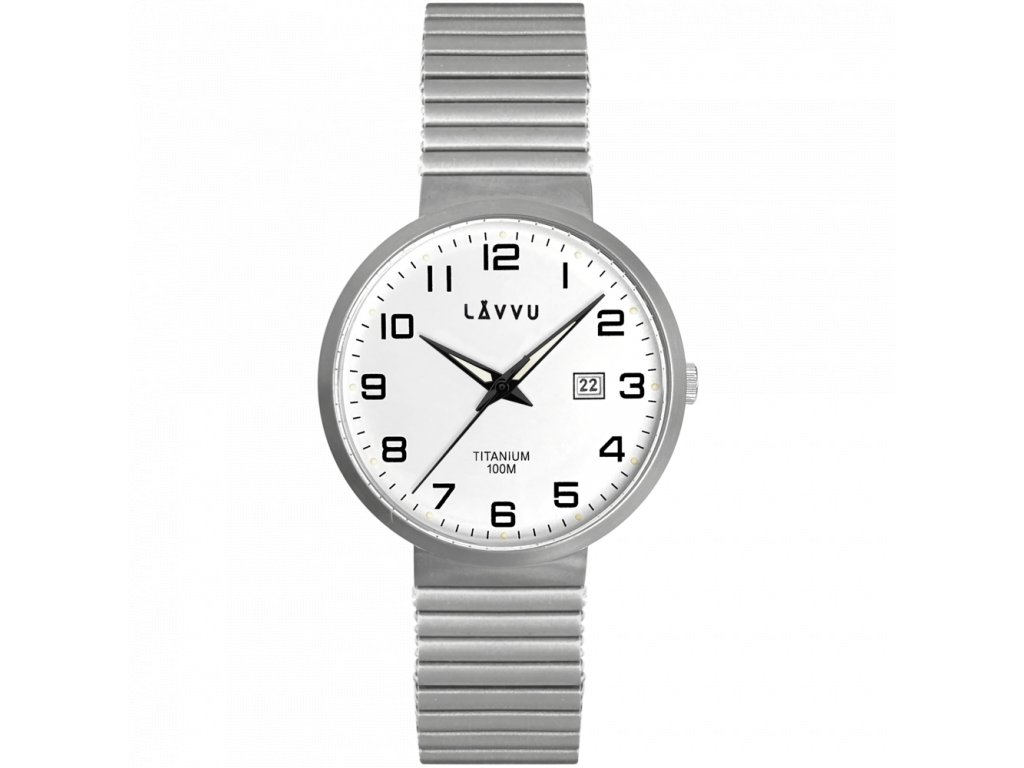 9690 titanove pruzne hodinky s vodotesnosti 100m lavvu lunden white