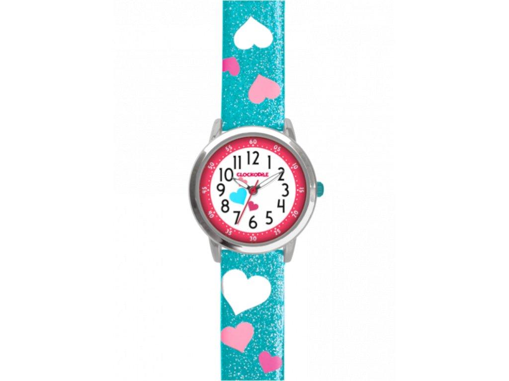 10143 tyrkysove trpytive divci detske hodinky se srdicky clockodile hearts
