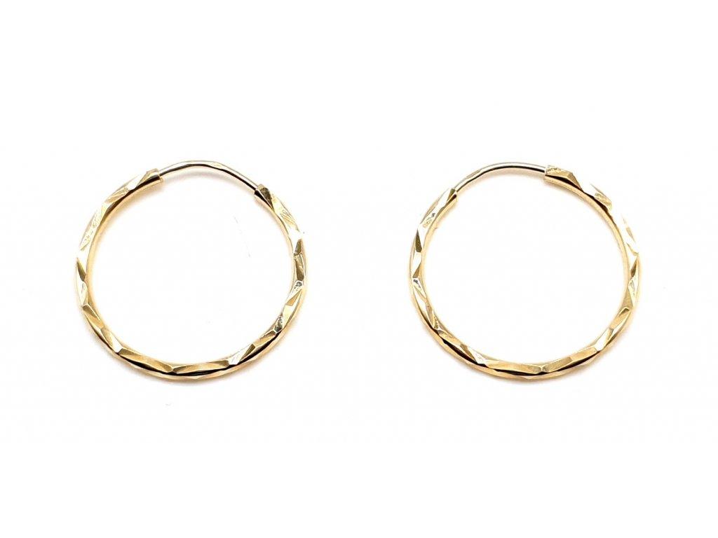98397 zlate kruhove nausnice s geometrickym povrchem 1 8cm