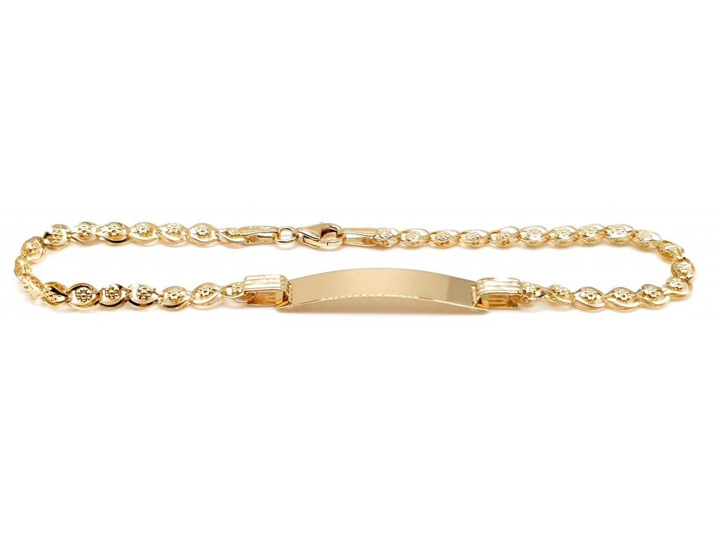 83238 zlaty damsky naramek se zdobnou zlatou destickou