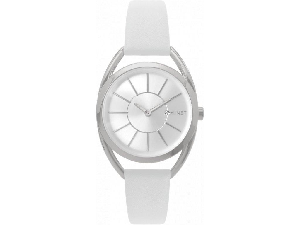 58203 4 bile damske hodinky minet icon silver white
