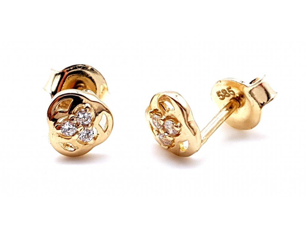 70023 1 drobne trinity nausnice ze zluteho zlata na puzetu