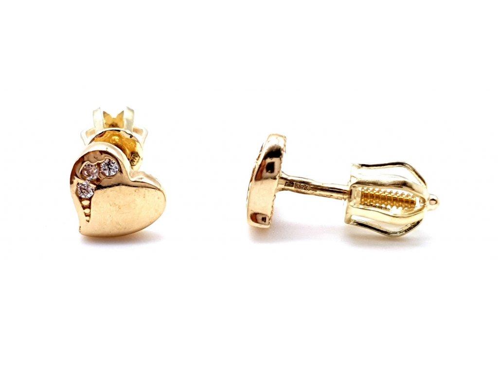 70011 drobne zlate nausnice ve tvaru srdce na puzetu