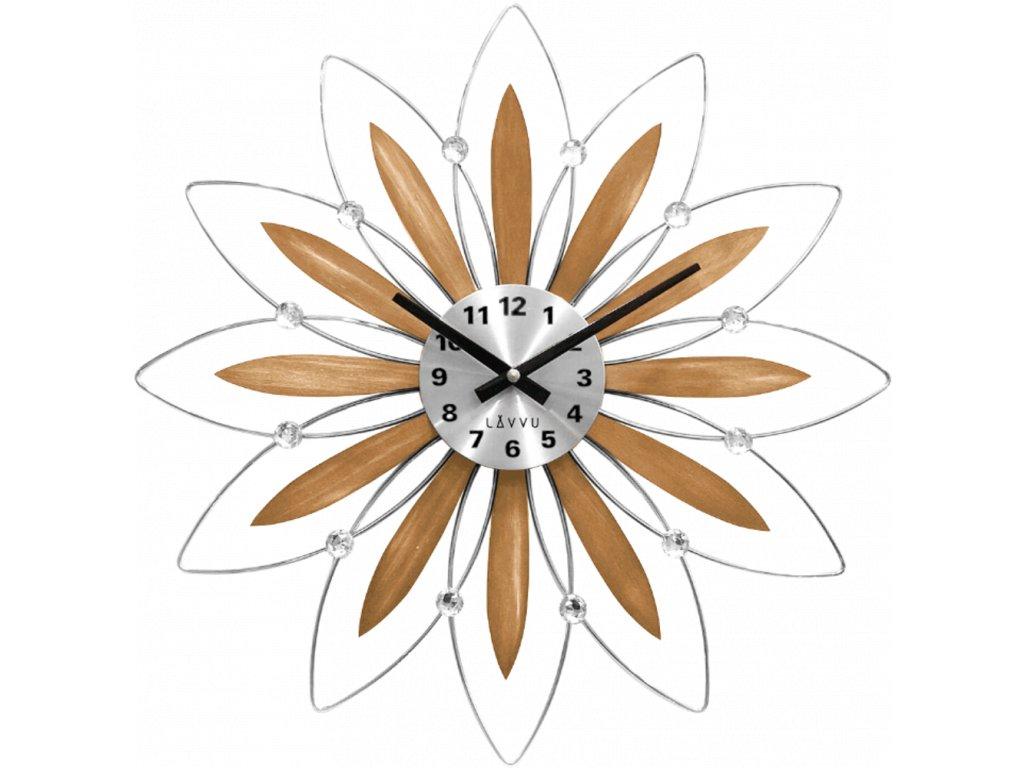 58506 2 drevene stribrne hodiny lavvu crystal flower s cisly