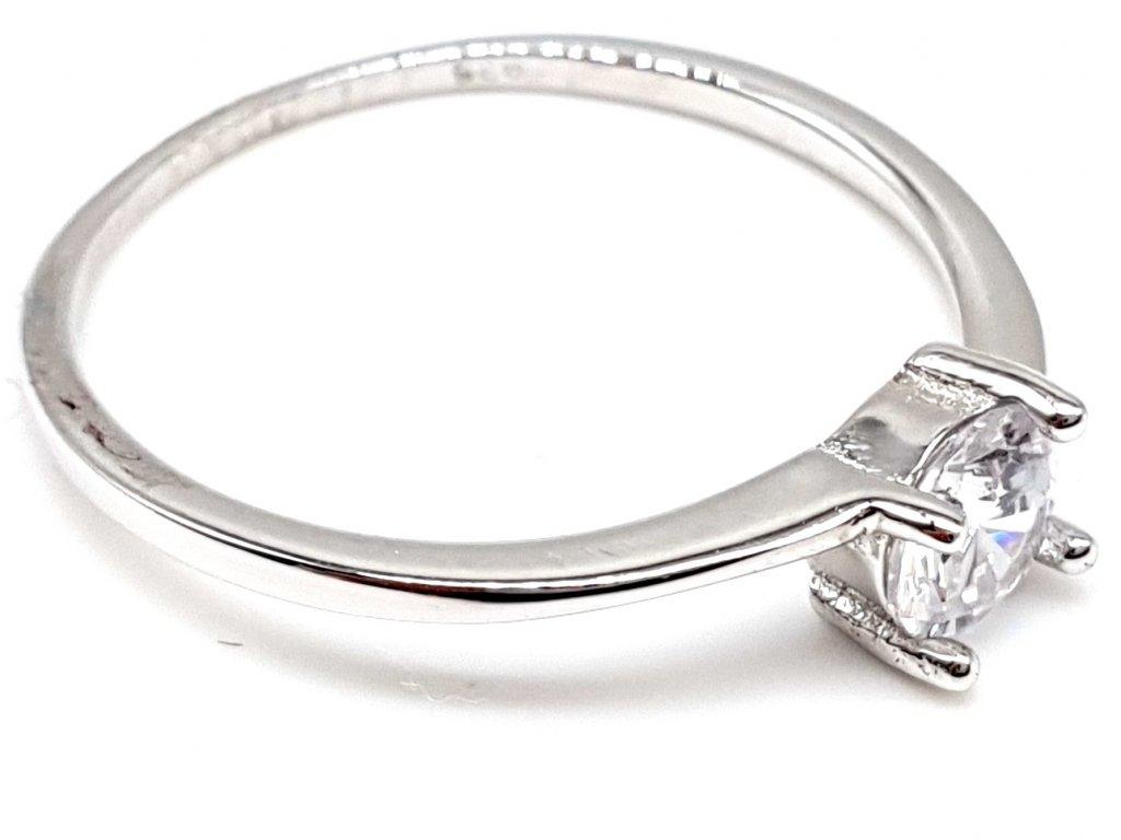 Elegantní zásnubní stříbrný soliter prsten se zirkonem (Velikost prstene 56 mm)