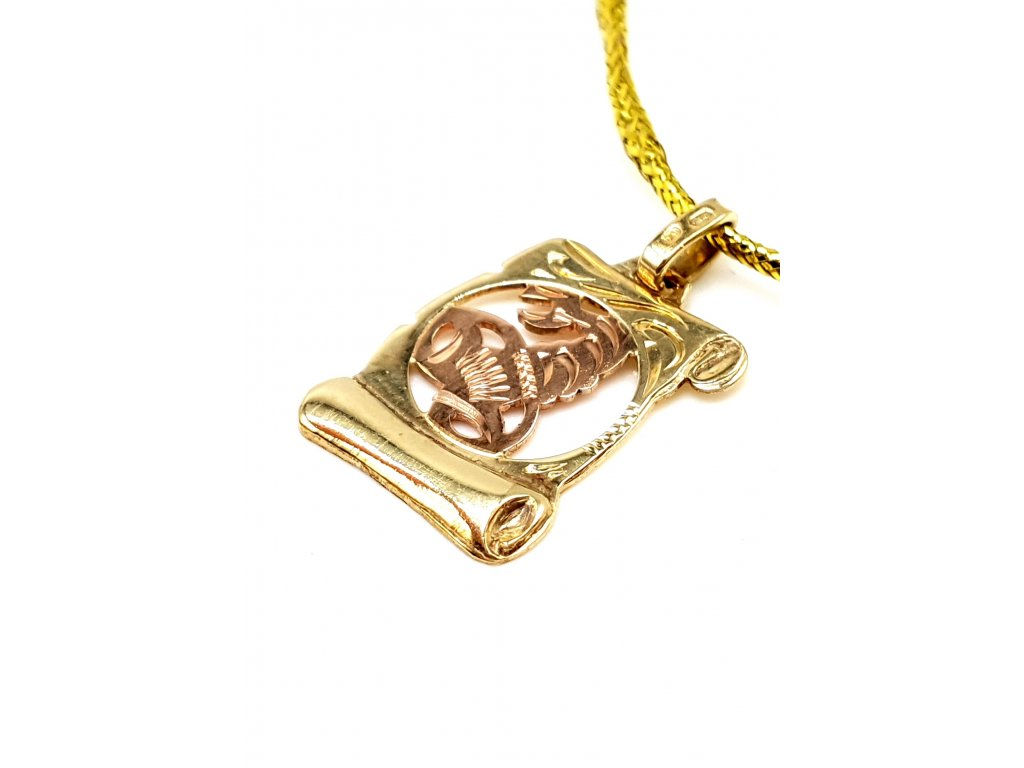 57240 elegantni zlaty privesek ve tvaru pergamenu znameni stir