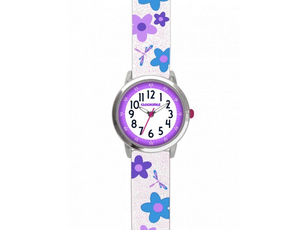 58647 2 kvetovane bilo fialove divci hodinky clockodile flowers se trpytkami