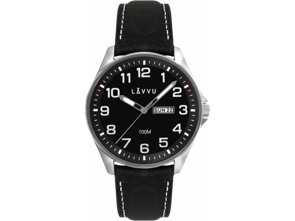58767 2 ocelove panske hodinky lavvu bergen black top grain leather se sviticimi cisly
