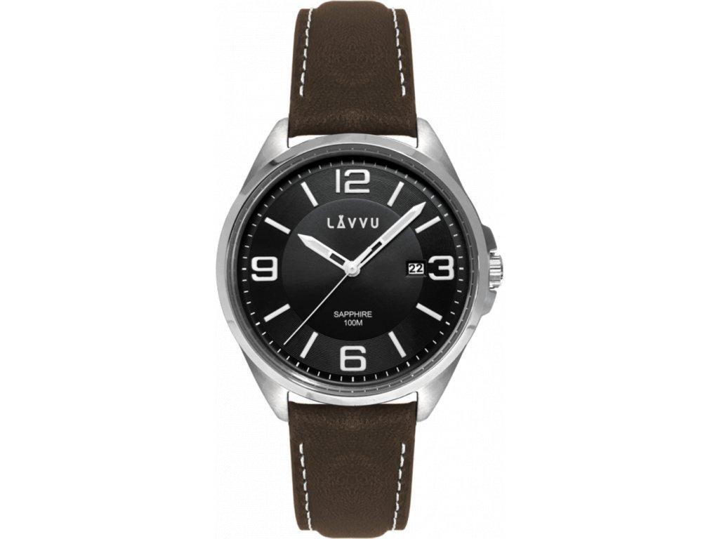 58806 2 panske hodinky se safirovym sklem lavvu herning black top grain leather