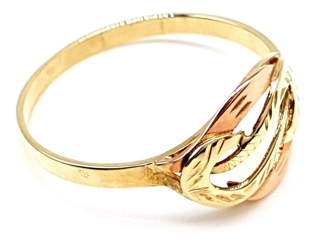 Propletený prsten z růžového a žlutého zlata (Velikost prstene 57 mm)