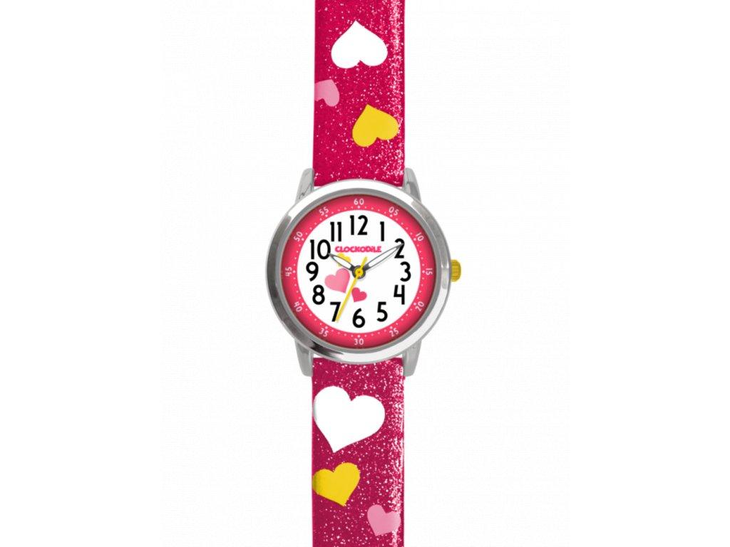 58995 2 ruzove trpytive divci hodinky se srdicky clockodile hearts
