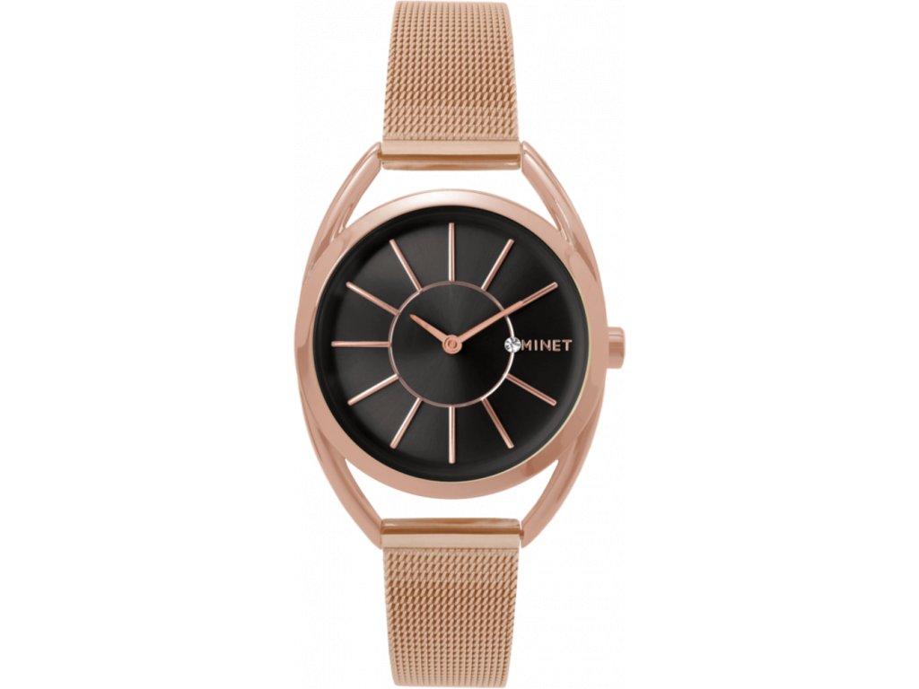 59001 2 ruzovo cerne damske hodinky minet icon rose gold black mesh