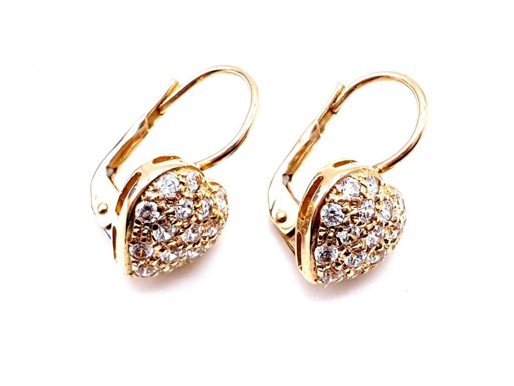 59823 srdcove nausnice ze zluteho zlata zdobene zirkony