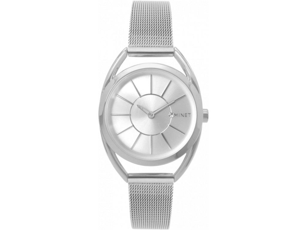 59022 3 stribrne damske hodinky minet icon pure silver mesh