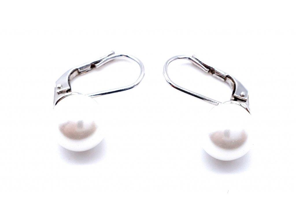70056 stribrne nausnice s dominantni perlou