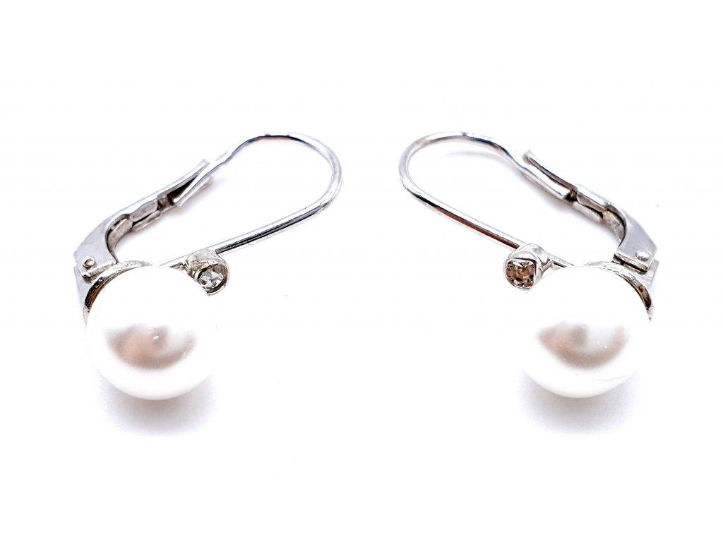 70050 stribrne nausnice s dominantni perlou a drobnym zirkonem