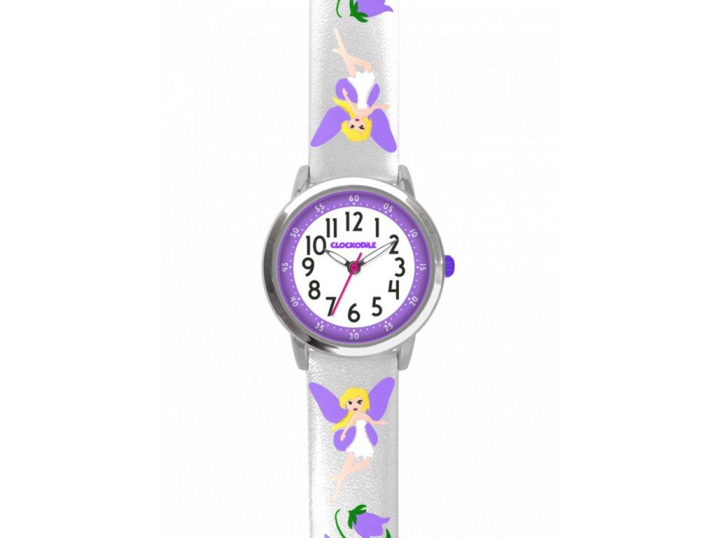 59157 2 stribrne trpytive divci hodinky s fialovymi vilami clockodile fairies
