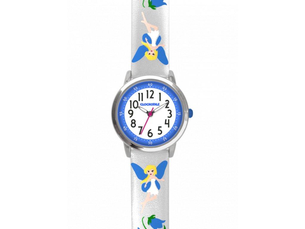 59163 2 stribrne trpytive divci hodinky s modrymi vilami clockodile fairies