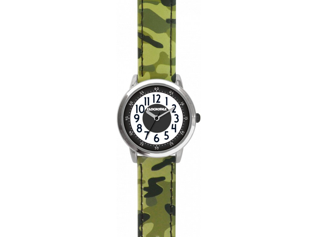66594 3 svitici zelene chlapecke hodinky clockodile army s maskacovym vzorem