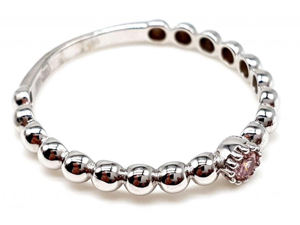 Zásnubní korálkový prsten z bílého zlata (Velikost prstene 56mm)