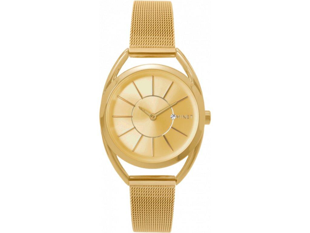 59604 3 zlate damske hodinky minet icon all gold mesh