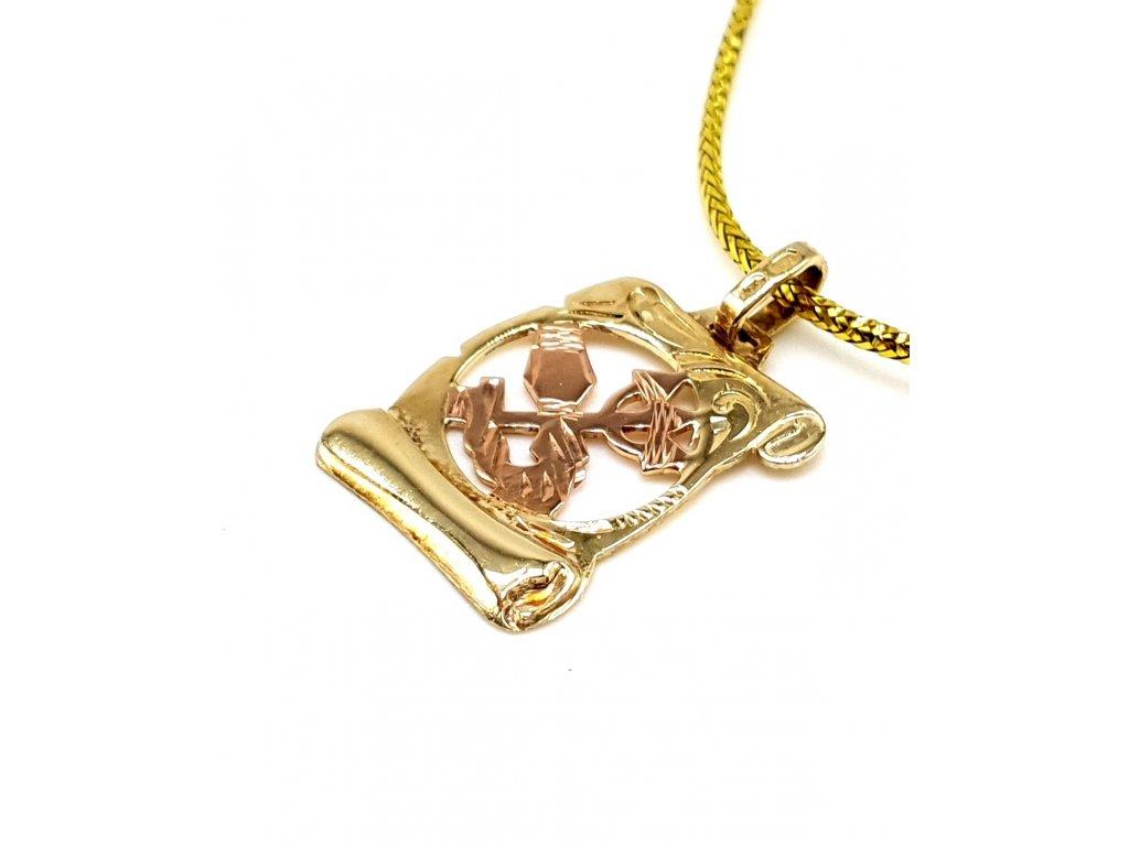 57159 zlaty privesek ve tvaru pergamenu znameni vodnar