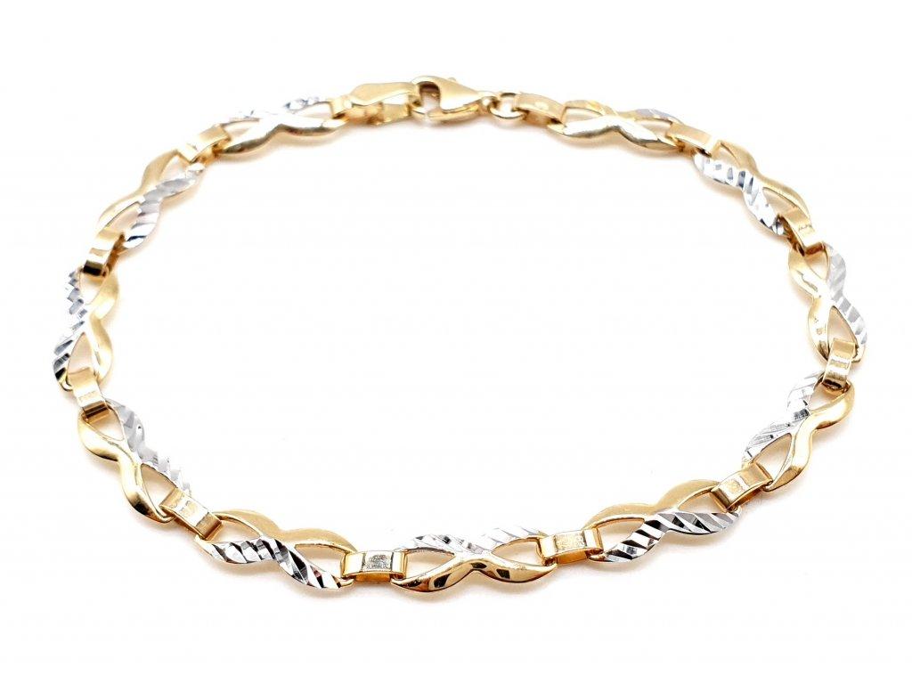 Infinity bi-colour zlatý náramek